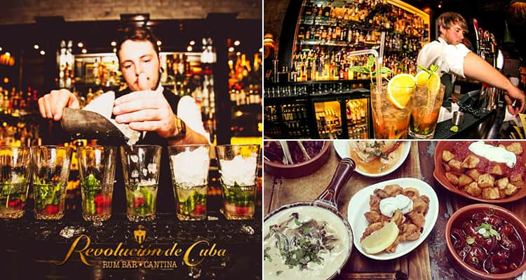 Three images of Revolucion de Cuba, Cardiff - featuring two images of barmen pouring drinks and one of tapas