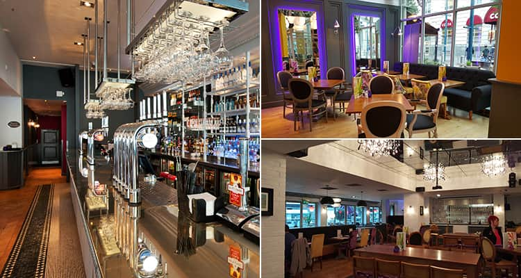 Three images of the Slug and Lettuce, Cardiff - including one of the cocktail menu and two of the interior
