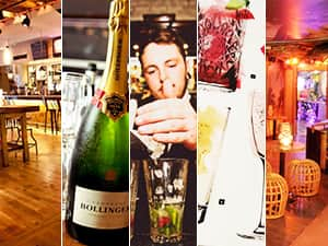 Five tiled images - including one of a champagne bottle, two of the interior of bars, one of a man pouring a cocktail and one of a drinks menu