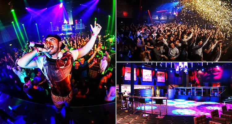 Three images of Pryzm, Cardiff - including one of a man on stage with a mic, one of the crowd and one of a dance floor