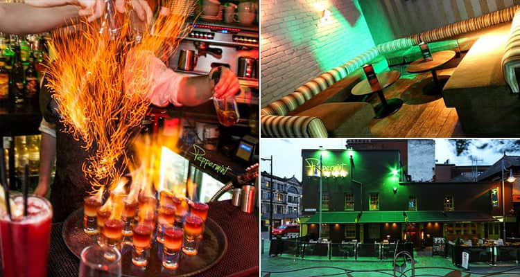 Three tiled images - including an image of flaming shots, the interior of the bar and the exterior