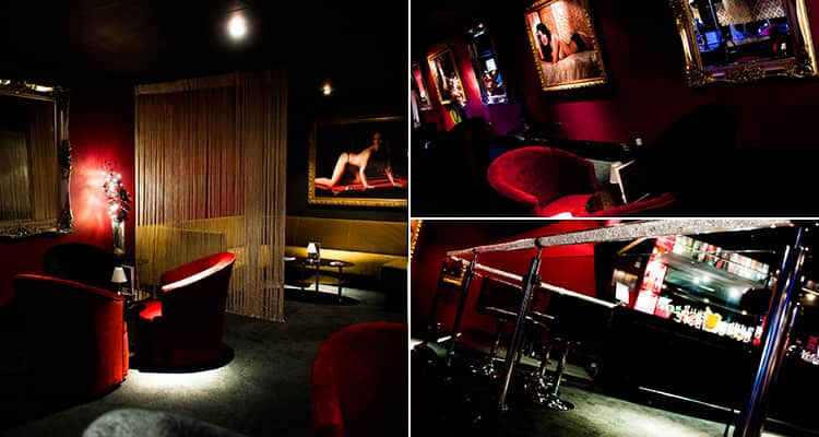 Three tiled images of Playhouse, Cardiff - including three of the luxurious and deep red interior