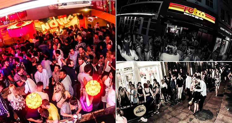 Three images of Retro club, Cardiff - including imgaes of the crowd, the exterior and people waiting outside of the bar