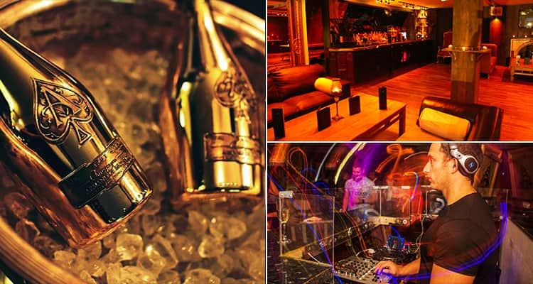 Three images of Soda Bar, Cardiff - featuring one of the DJ, one of Ace of Spades champagne and one of the interior