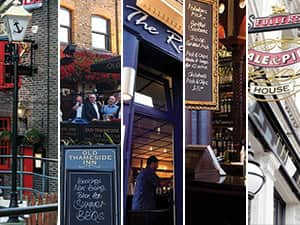 Five tiled images of pubs in London - including one of The Anchor, Old Thameside Inn, The Rake and The Horniman at Hays