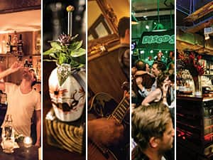 Five tiled images of some of the best bars in Shoreditch, London