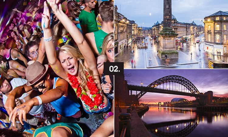 Three tiled images - including women and men dancing, the Tyne Bridge and Grey's Monument, in Newcastle
