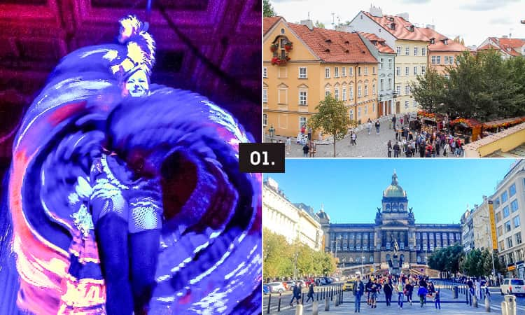 Three tiled images - including a can can woman dancing, a prague city centre street and the local square.