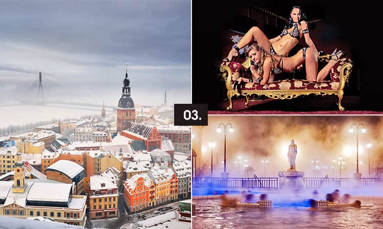 Three tiled images - including Riga in snow, two strippers lounging on a chair and an outdoor spa