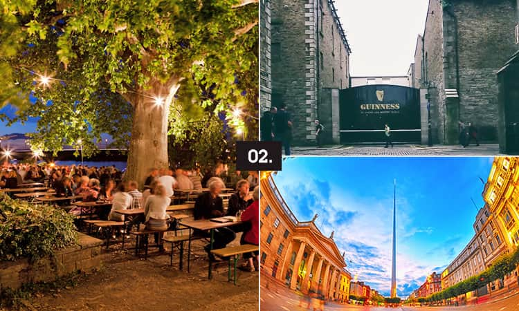 Three tiled images - including one of the Guinness Storehouse gate, one of a monument in Dublin and one of an outdoor terrace