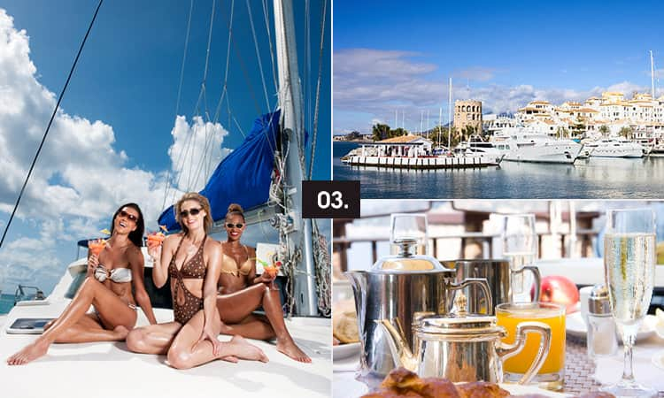 Three tiled images - including one of three women on a catamaran, one of boats in a marina and one of tea and champagne on a table
