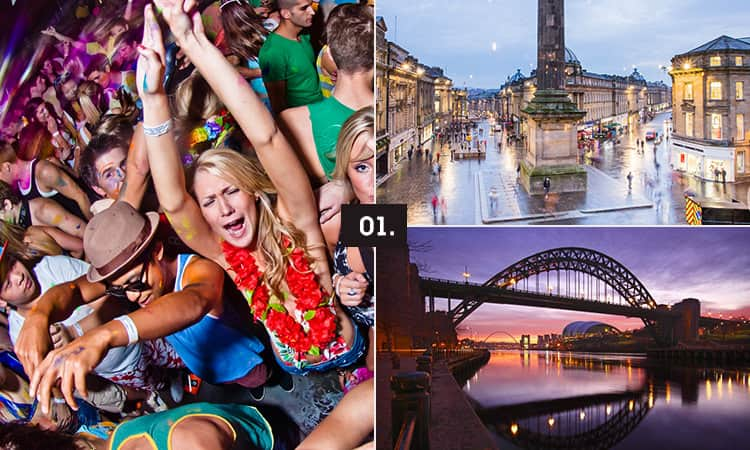 Three tiled images - including one of men and women dancing, one of the Tyne Bridge at night and one of Grey's Monument