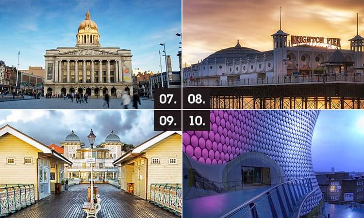 Three tiled images of Nottingham, Brighton, Cardiff and Birmingham