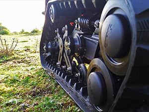 Close up of the tank treads on a DTV Shredder