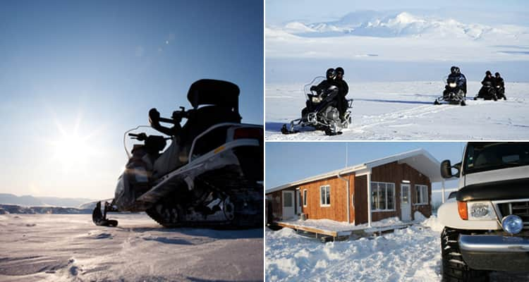 Three tiled images - including two of snowmobiles and a car in the snow next to a building