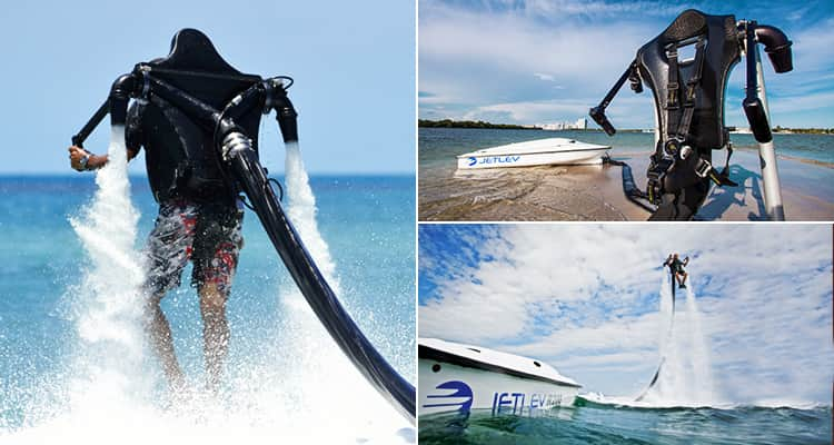 Three tiled images - including two of someone flying a jet-lev and one of a jet-lev and a boat
