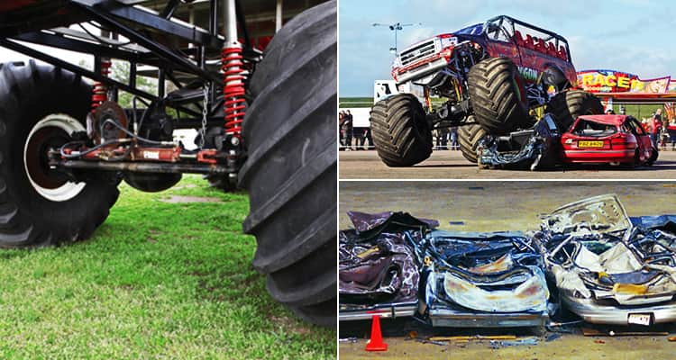 Three tiled images - one of monster truck tyres, one of a monster truck driving over a car and one of crushed cars