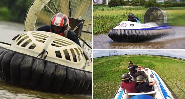 Three tiled images featuring people racing hovercrafts