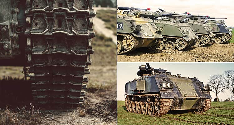 Three tiled images - including one of a tank tread and two of tanks