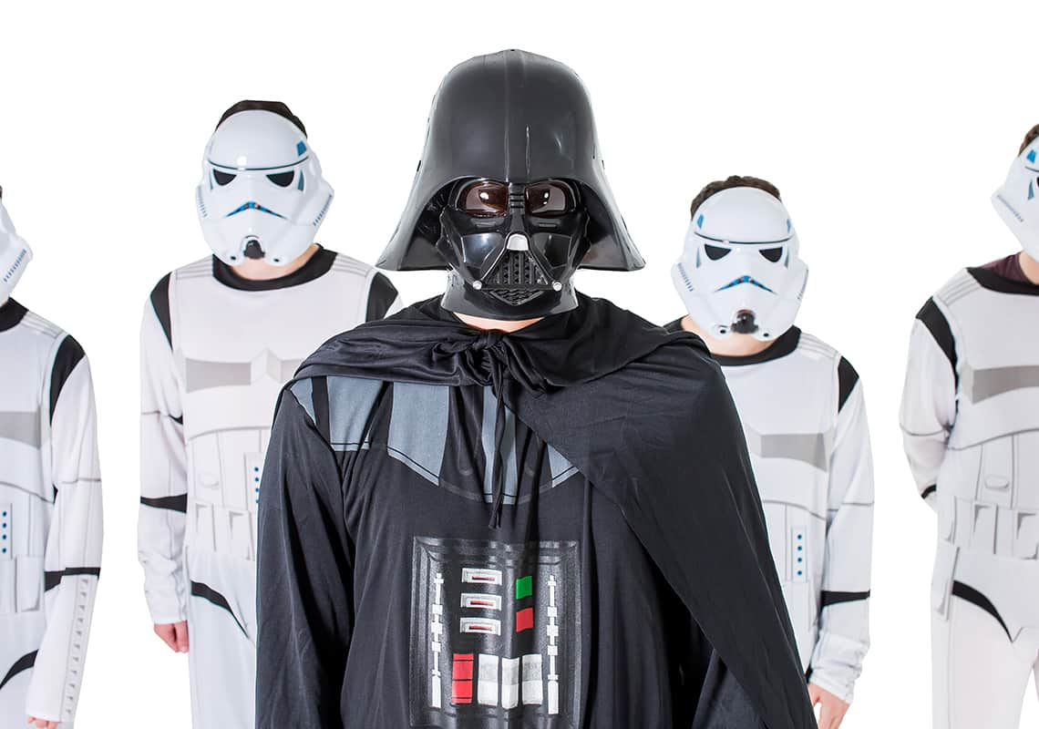 Man dressed as Darth Vader with Stormtroopers