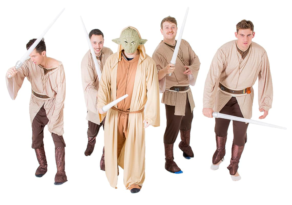 Four men dressed as Jedi's and one as Yoda