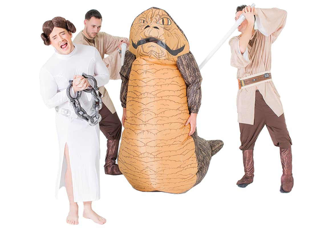 Two men wearing Jedi costumes, one man as Princess Leia and one as Jabba the Hut