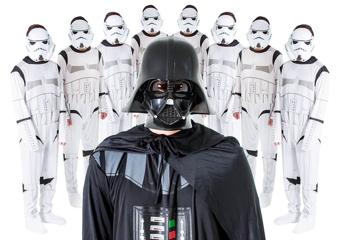 Close up of men dressed up as Darth vader and Stormtroopers