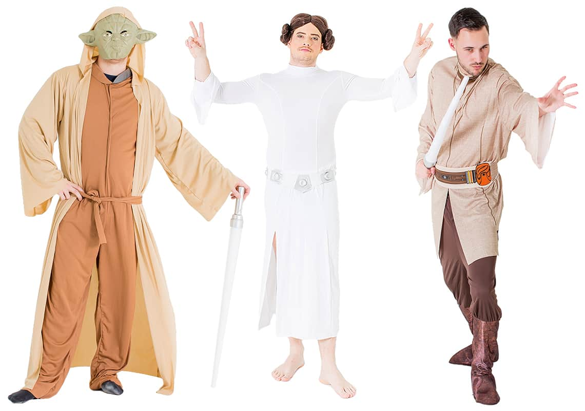 A man as Yoda, one as Princess Leia and one as a Jedi