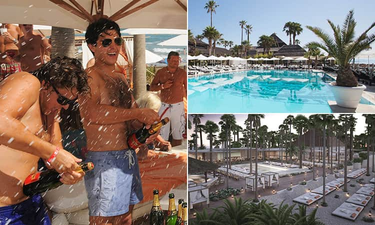 Three tiled images - including one of men spraying champagne and two of beach clubs in Marbella