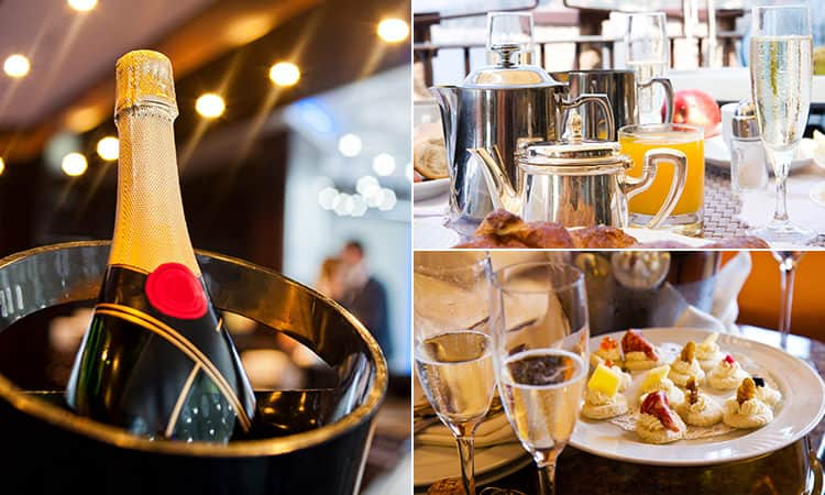 Three tiled images - including one of a champagne in a bucket, and two with champagne glasses surrounding food