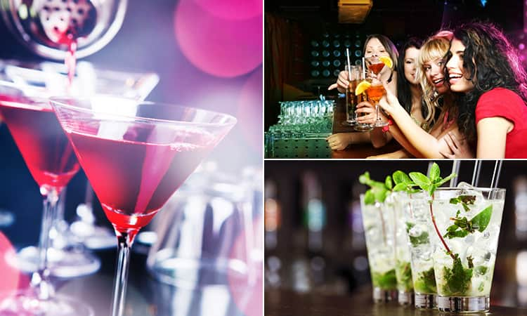 Three tiled images - including one of women drinking cocktails, one of Mojito's and one of Cosmopolitans