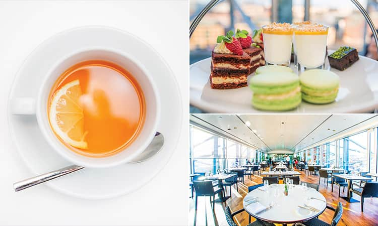 Three tiled images - including one of a a tea, one of desserts on a plate and one of Six Baltic restaurant