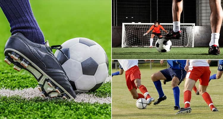 Three tiled images - including one of foot kicking a ball, one of people playing football and one of a goalkeeper
