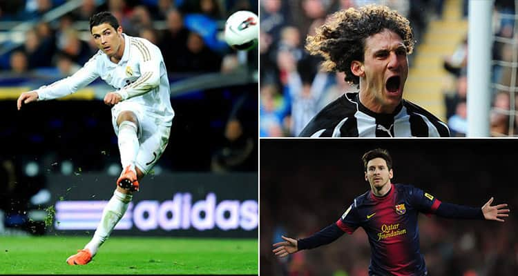 Three tiled images - including one of Messi, Ronaldo and Coloccini