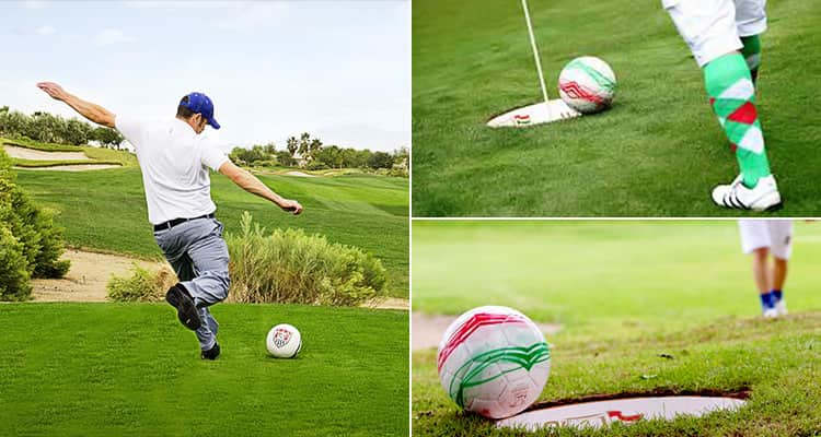 Three tiled images of people playing Footgolf