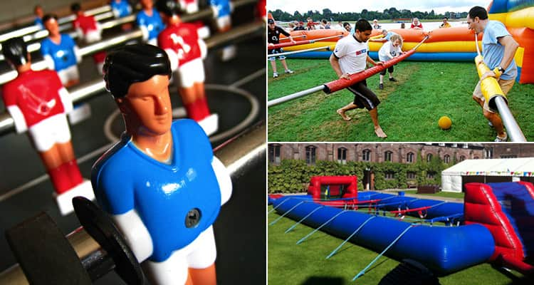 Three tiled images of human table football - including one of the pitch and one of people playing
