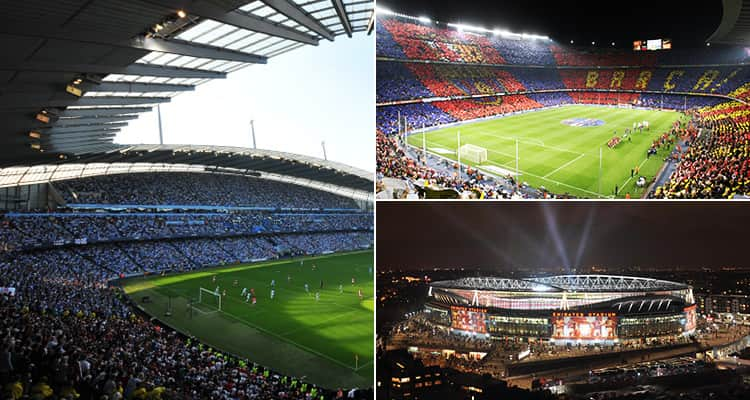 Three tiled images - including one of Nou Camp, the Emirates Stadium and the Etihad