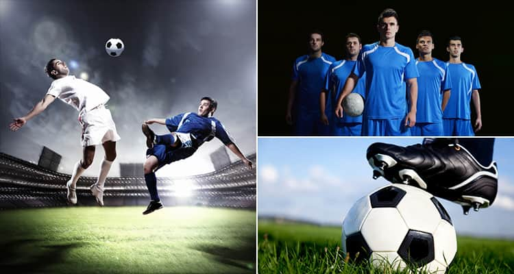 Three tiled images - including one of two people playing football, a football team and one of a football