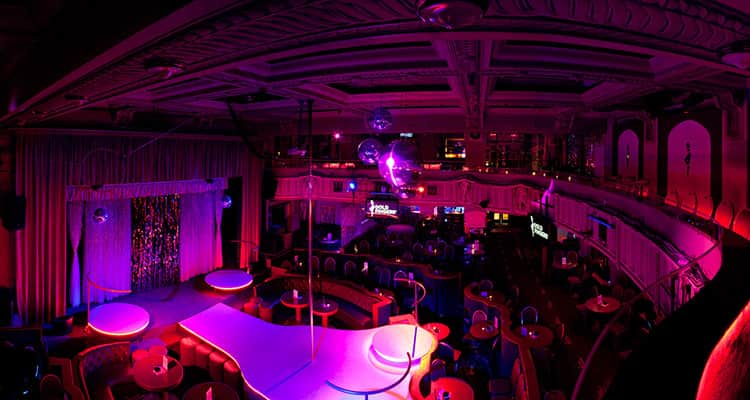 Interiors of Goldfingers Strip Club in Prague
