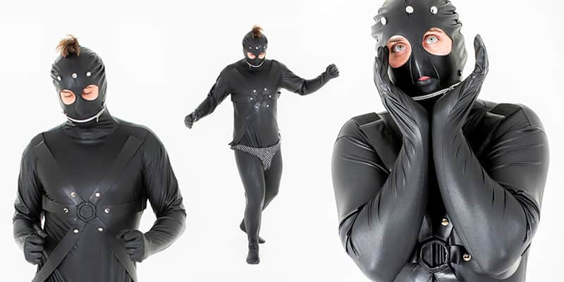 Three images of a male model posing and wearing a Gimp suit