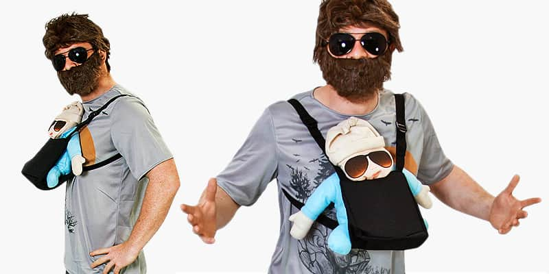 A close up two tiled images of a man in an Alan Hangover costume