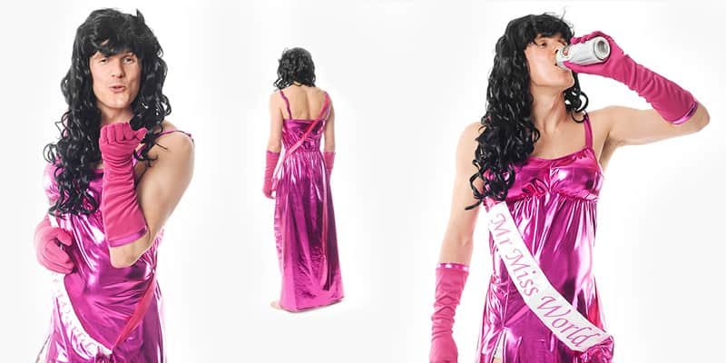 Three tiled images of a male model wearing the Mr Miss World costume