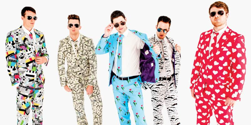 Five men wearing Opposuits