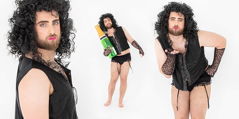 Three tiled images of a male model wearing a Rocky Horror costume