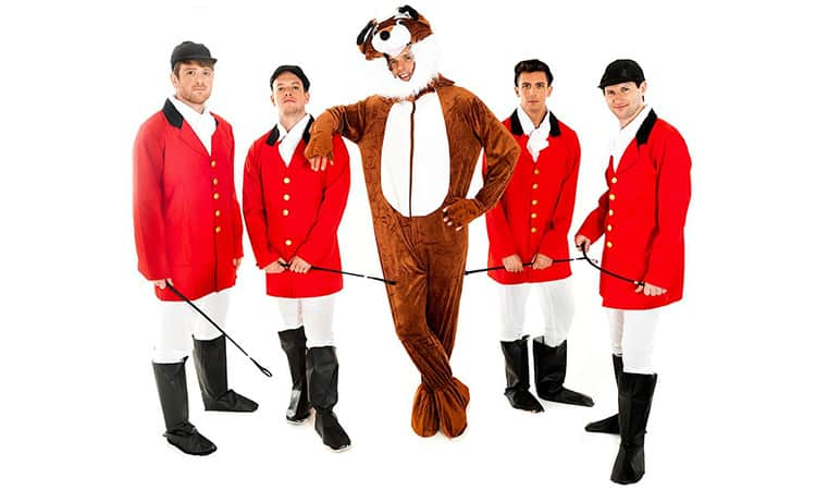 Four men in Fox Hunter costumes and a man in a fox costumes