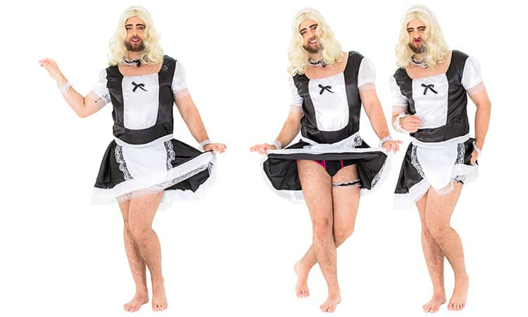 Three tiled images of a man in a French Maid costume, against a white backdrop
