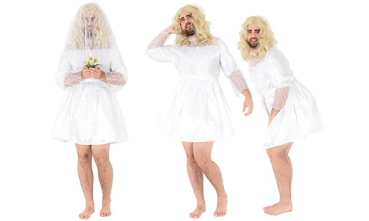 Three tiled images of a man in a short, white lace wedding dress, against a white backdrop