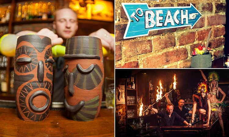 Three images of Aloha Bar, Prague - including one of the cocktails, one of the beach sign and one of the bartenders and dancing girls