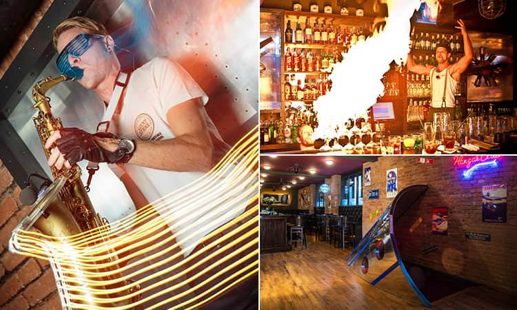 Three images of Hangar Bar - including one of a man playing the sax, one of the bartender breathing fire and one of the interior