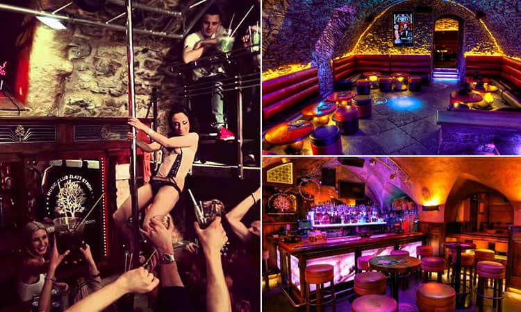 Three images of Zlaty Strom, Prague - featuring one of the pole dacing bar and two of the club's interior
